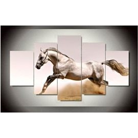 White Horse Hanging 5-Piece Canvas Eco-friendly and Waterproof Non-framed Prints