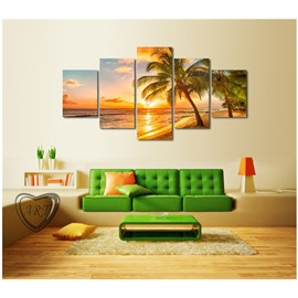 Palm and Beach in Sunset Hanging 5-Piece Canvas Eco-friendly and Waterproof Non-framed Prints