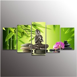 Green Bamboos and Buddha Hanging 5-Piece Canvas Eco-friendly and Waterproof Non-framed Prints