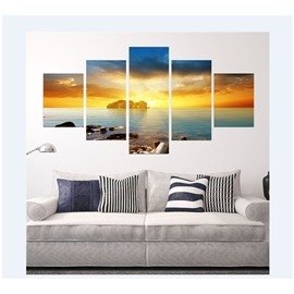 Golden Sun Shining Sea Hanging 5-Piece Canvas Eco-friendly and Waterproof Non-framed Prints