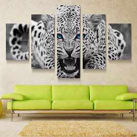 Roaring Leopard Hanging 5-Piece Canvas Eco-friendly and Waterproof Non-framed Prints