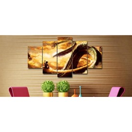 Dragon in Golden Clouds Printed Hanging 5-Piece Canvas Eco-friendly and Waterproof Non-framed Prints