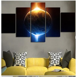 Planet and Sunshine Printed Hanging 5-Piece Canvas Eco-friendly and Waterproof Non-framed Prints