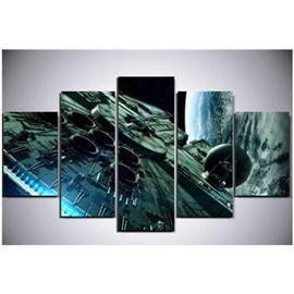 Spacecraft and Planet Printed Hanging 5-Piece Canvas Eco-friendly and Waterproof Non-framed Prints