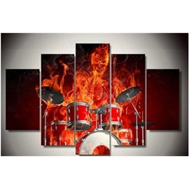 Fireman Playing The Drum Set Printed Hanging 5-Piece Canvas Eco-friendly Waterproof Non-framed Prints