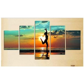 Dancing on Beach in Sunrise Hanging 5-Piece Canvas Eco-friendly and Waterproof Non-framed Prints