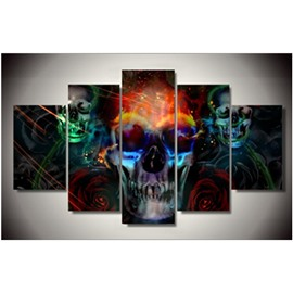 Skulls and Roses Printed Hanging 5-Piece Canvas Eco-friendly and Waterproof Non-framed Prints