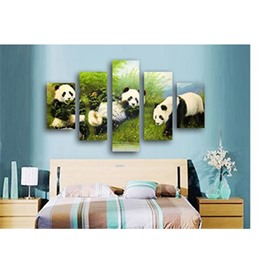 Pandas in Green Plants Hanging 5-Piece Canvas Eco-friendly and Waterproof Non-framed Prints