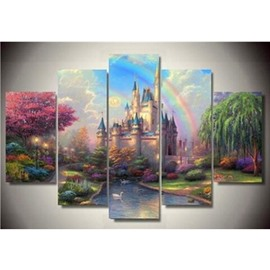 Rainbow and Castle Hanging 5-Piece Canvas Eco-friendly and Waterproof Non-framed Prints