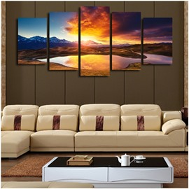 Lake and Mountains in Sunset Hanging 5-Piece Canvas Eco-friendly and Waterproof Non-framed Prints