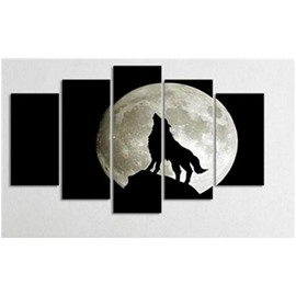 Roaring Wolf and White Planet Hanging 5-Piece Canvas Eco-friendly and Waterproof Non-framed Prints