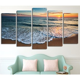 Beach in Sunrise Printed Hanging 5-Piece Canvas Eco-friendly and Waterproof Non-framed Prints