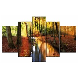 Stream in Forest Hanging 5-Piece Canvas Eco-friendly and Waterproof Non-framed Prints