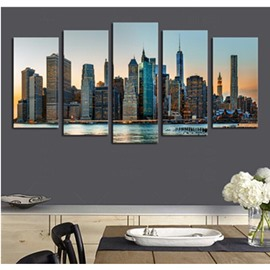 Buildings beside Lake Hanging 5-Piece Canvas Eco-friendly and Waterproof Non-framed Prints