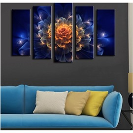 Blue Background with Blooming Flower Printed Hanging 5-Piece Canvas Eco-friendly Waterproof Non-framed Prints