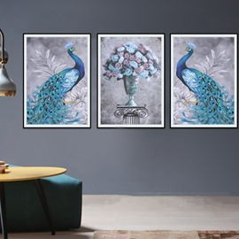 23.6.3x31.5in Tarpaulin Material 3-Pieces Waterproof Peacock Pattern Wall Prints