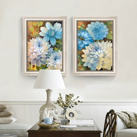 3 Size For Choice Glass Blue Flower Pattern Waterproof Wall Prints