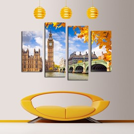 Famous Architecture Pattern 4-Piece Canvas Hung Non-framed Wall Prints