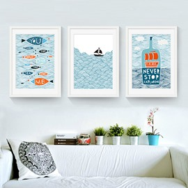 Nordic Style Funny Fish Pattern 3 Size Glass Waterproof Wall Prints
