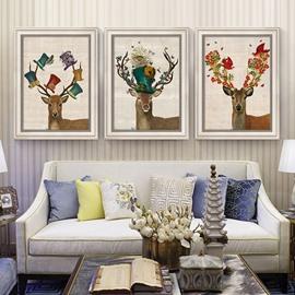 Simple Design Elk Pattern 3 Size Glass Waterproof Wall Prints