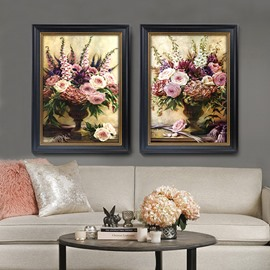 Retro Style Flower Pattern 3 Size Glass Waterproof Wall Prints