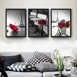 Creative Gray Style Red Rose Pattern 3 Size Glass Waterproof Wall Prints