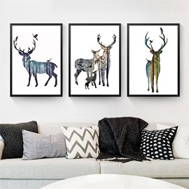 Simple Design Creative Elk In Forest Pattern 2 Size Glass Waterproof Wall Prints