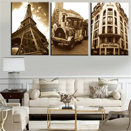 Classic Architecture Waterproof and Eco-friendly 11.8*17.7in*3 Pieces Hanging Canvas Wall Prints