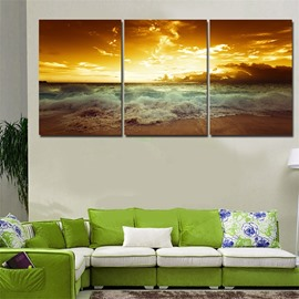 Sea Scene Waterproof and Eco-friendly 11.8*17.7in*3 Pieces Hanging Canvas Wall Prints