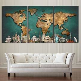 Map Waterproof and Eco-friendly 11.8*17.7in*3 Pieces Hanging Canvas Wall Prints