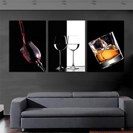 Wine Glass Waterproof and Eco-friendly 11.8*17.7in*3 Pieces Hanging Canvas Wall Prints