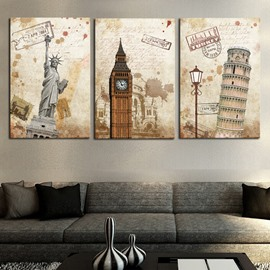 11.8*17.7in*3 Pieces Famous Architecture Waterproof and Eco-friendly Hanging Canvas Wall Prints