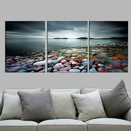 Pebble And River Waterproof and Eco-friendly 11.8*17.7in*3 Pieces Hanging Canvas Wall Prints