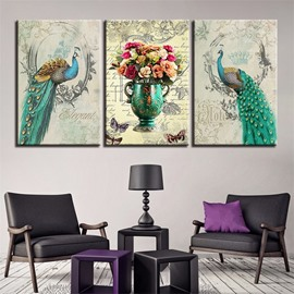 11.8*17.7in*3 Pieces Peacock And Flower Hanging Canvas Waterproof And Eco-friendly Wall Prints