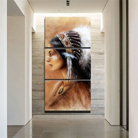 3 Pieces Indian Girl Pattern Hanging Canvas Waterproof Eco-friendly Framed Prints