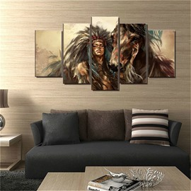 5 Pieces Indian Girl And Horse Pattern Hanging Canvas Waterproof Eco-friendly Framed Prints
