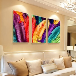 Colorful Feather Pattern 3 Pieces Hanging Canvas Waterproof Eco-friendly Framed Wall Prints