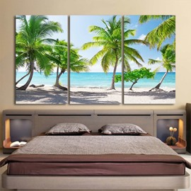 Coconut Palm Pattern 3 Pieces Hanging Canvas Waterproof Eco-friendly Framed Wall Prints