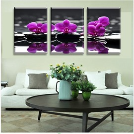 3 Pieces Purple Flower Pattern Hanging Canvas Waterproof Eco-friendly Framed Wall Prints
