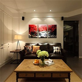 3 Pieces Red Tree Pattern Hanging Canvas Waterproof Eco-friendly Framed Wall Prints