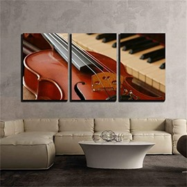 3 Pieces Violin Pattern Hanging Canvas Waterproof Eco-friendly Framed Wall Prints