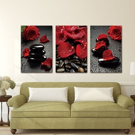 3 Pieces Rose And Stone Pattern Hanging Canvas Waterproof Eco-friendly Framed Wall Prints