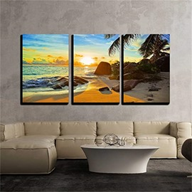 3 Pieces Sea View Pattern Hanging Canvas Waterproof Eco-friendly Framed Wall Prints