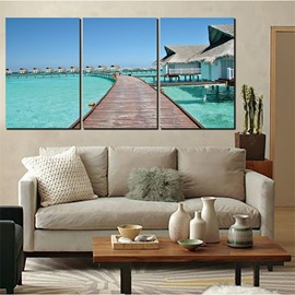 3 Pieces Sea Scene Pattern Hanging Canvas Waterproof Eco-friendly Framed Wall Prints