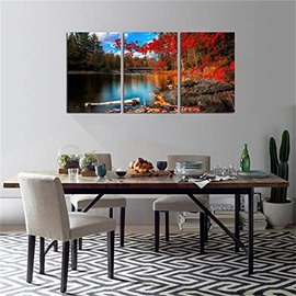 3 Pieces Beautiful Scene Pattern Hanging Canvas Waterproof Eco-friendly Framed Wall Prints