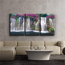 3 Pieces Waterfall Pattern Hanging Canvas Waterproof Eco-friendly Framed Wall Prints