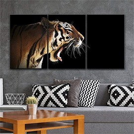 3 Pieces Big Tiger Pattern Hanging Canvas Waterproof Eco-friendly Framed Wall Prints