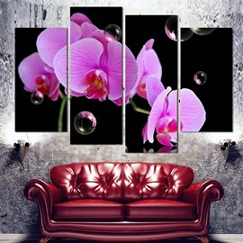 Flower Pattern 4 Pieces Hanging Canvas Waterproof Eco-friendly Framed Wall Prints