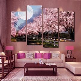 Sakura Pattern 4 Pieces Hanging Canvas Waterproof Eco-friendly Framed Wall Prints