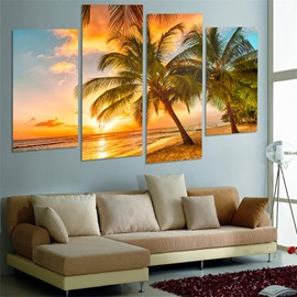 Tropical Scenery Pattern 4 Pieces Hanging Canvas Waterproof Eco-friendly Framed Wall Prints